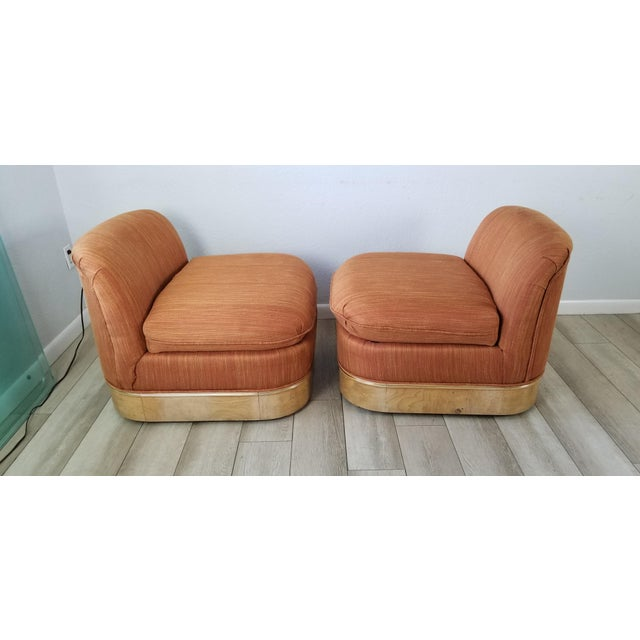 Milo Baughman for Lane Burl Wood Base Slipper Lounge Chairs - a Pair For Sale - Image 12 of 12