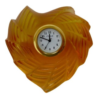 Lalique Glass Accent Clock For Sale