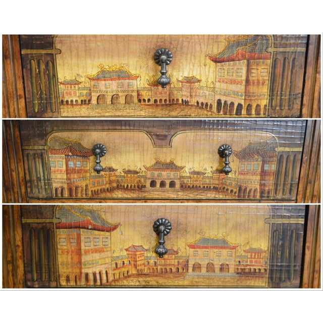 Chinese Hand Painted Large Faux Bamboo Hall Table or Sideboard For Sale - Image 5 of 11