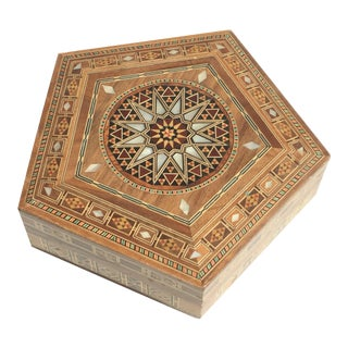 Vintage Middle Eastern Hexagonal Marquetry Inlaid Jewelry Box
