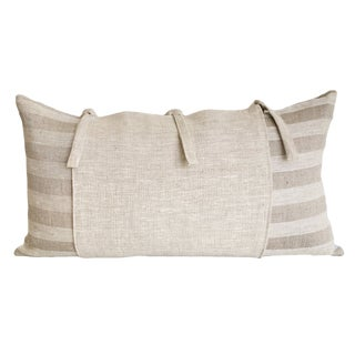French Country Striped Linen Lumbar Pillow For Sale