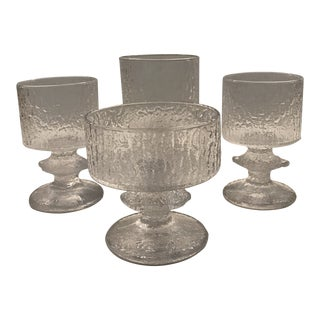 1960s Organic Modern Festivo Wine Goblets by Timo Sarpaneva for Iittal, Finland - Set of 4 For Sale