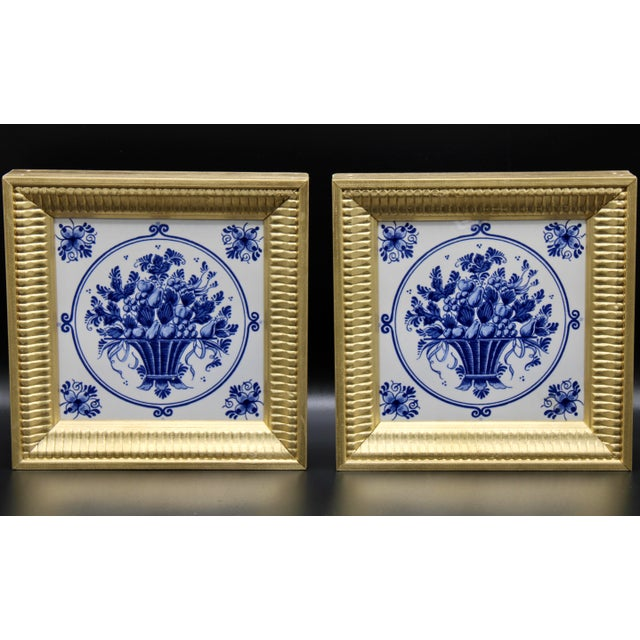Mid-20th Century Dutch Delft Floral Gilt Wood Framed Tiles - a Pair For Sale - Image 13 of 13