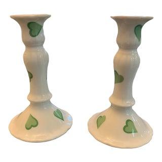 D Porthault Limoges France Coeur Candleholders - Pair For Sale