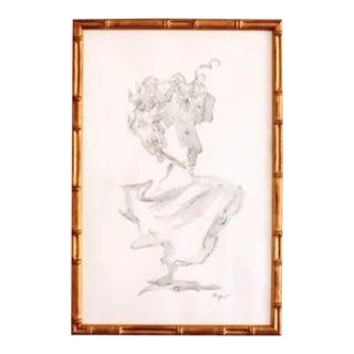 Elle Yount Original Mod Naples Bust Framed Art For Sale