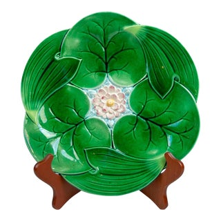 Late 19th Century George Jones Majolica Lotus Pond Lily Plate For Sale