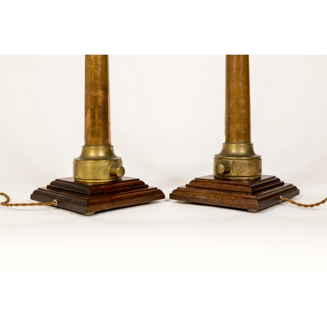 Copper & Brass Victorian Fire Hose Nozzle Lamps (Pair) For Sale - Image 9 of 13