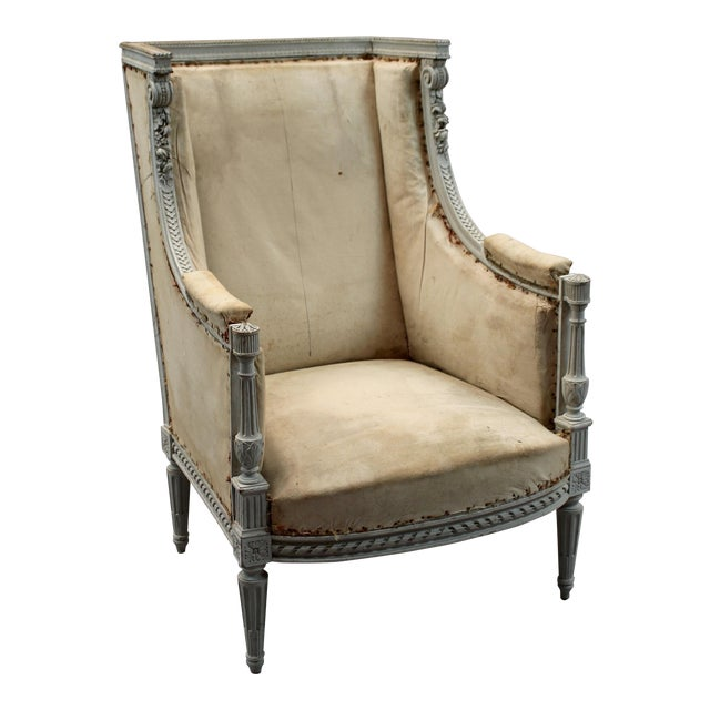 Antique French Louis XVI Style Bergere Chair - Antique French Louis XVI Style Bergere Chair Chairish
