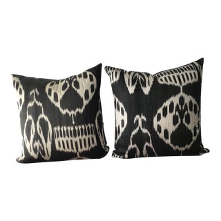 Black & White Turkish Ikat Silk Pillows - a Pair For Sale