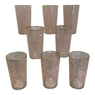 Mid-Century Vintage Libby Pink and White Speckled Gold Rim Highball Glasses - Set of 8