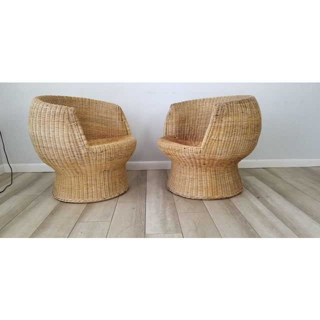 Wicker 1960's Postmodern Eero Aarino Attributed Wicker Chairs and Coffee Table - Set of 3. For Sale - Image 7 of 13