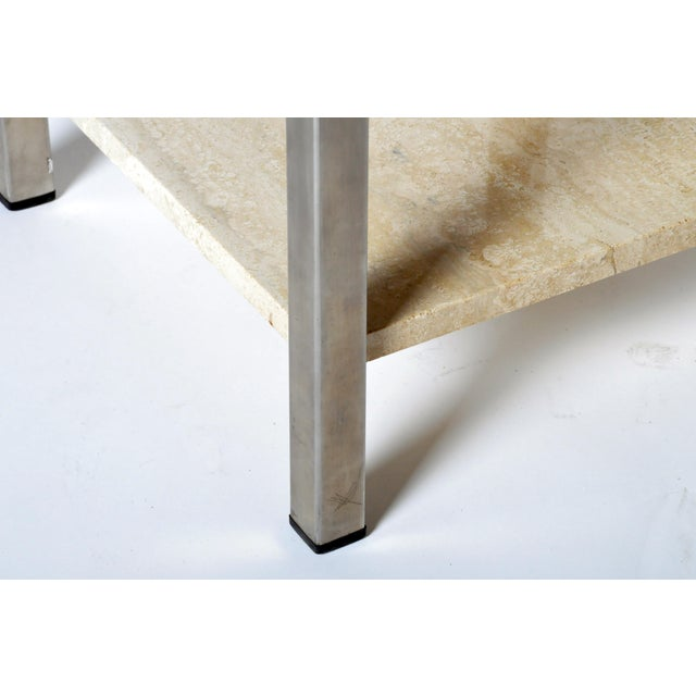 Pair of Two-Tier Travertine Side Tables in the Style of Guy Lefevre For Maison Jansen For Sale - Image 10 of 11