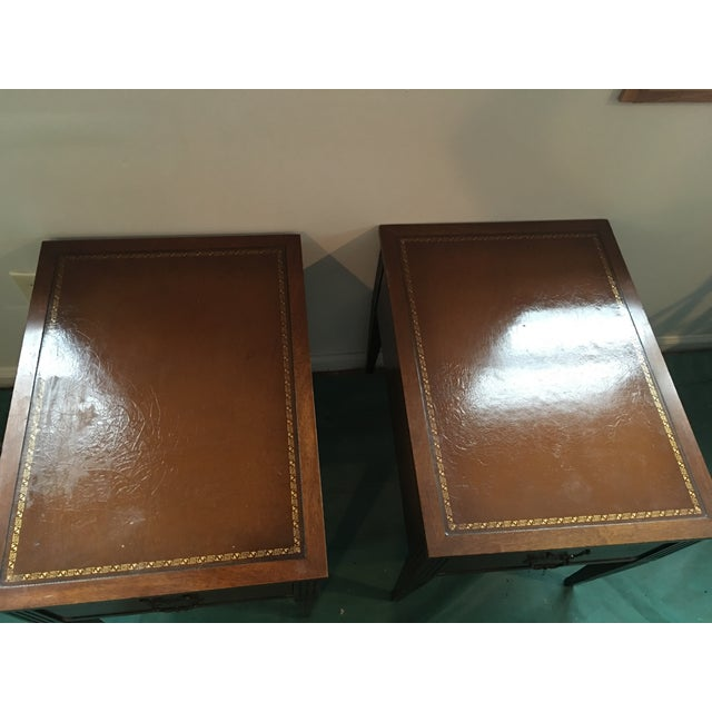 """Leather Top """"Neptune"""" Matching Side Tables - 2 - Image 3 of 5"""