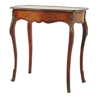 French Louis XV Brass Bound Rosewood Marquetry Table For Sale