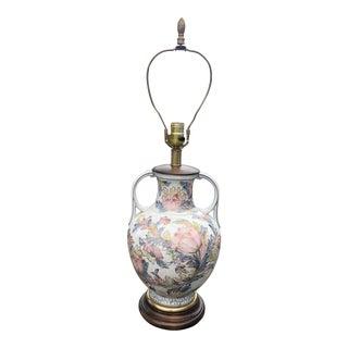 Vintage Mid-Century Frederick Cooper Floral Urn Lamp For Sale