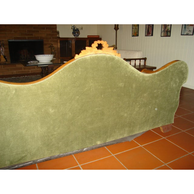 Green Velvet Serpentine Victorian Sofa For Sale - Image 6 of 6