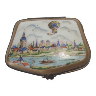 19th Century French Hot Air Balloon Over Village Pill Box For Sale