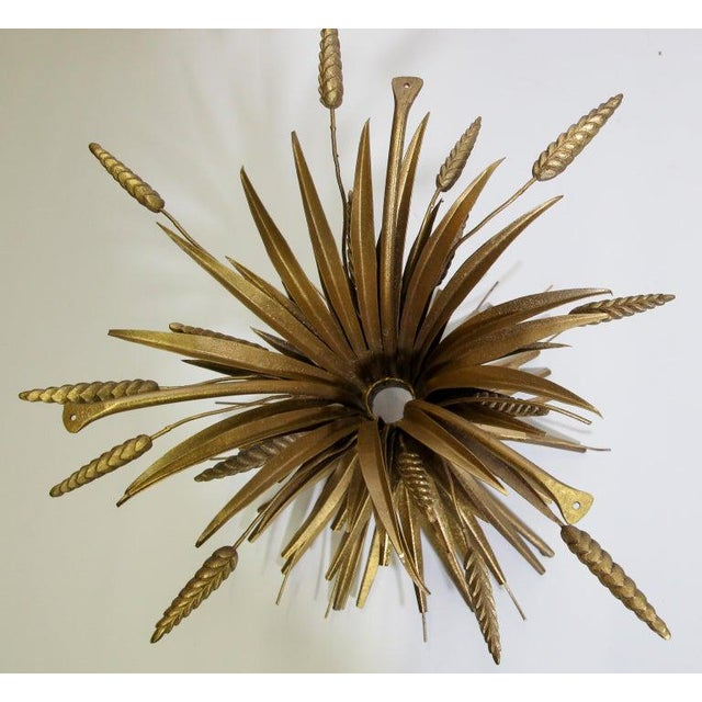 Gold Vintage French Metal Sheaf of Wheat Side Table with Glass Top For Sale - Image 8 of 10