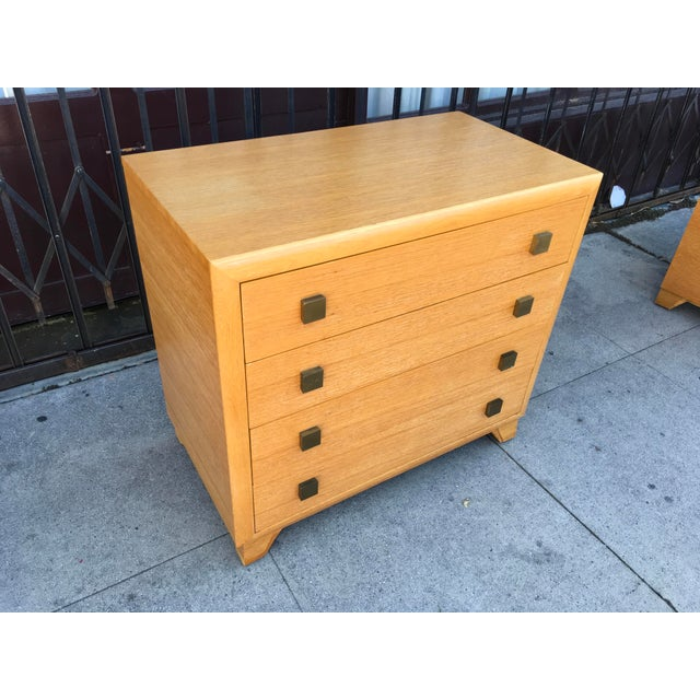 Incredible oak four drawer dresser which we believe to be a rare Paul Frankl design. Gorgeous late Art Deco early mid...