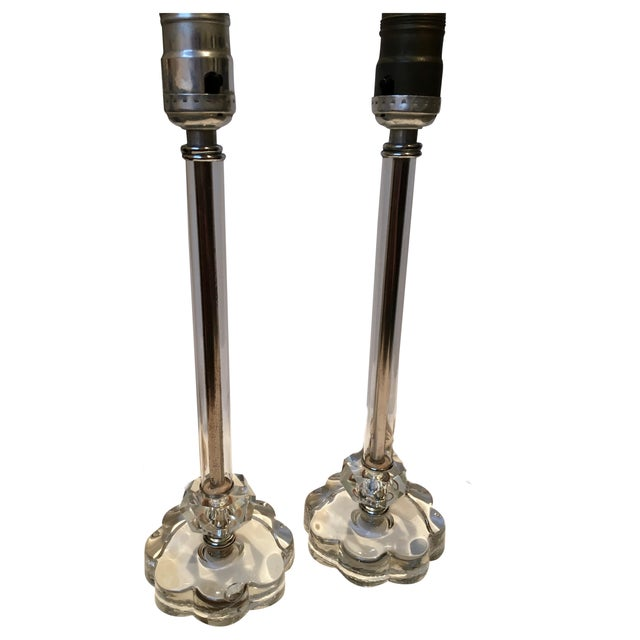 Vintage Glass Lamps - Pair - Image 1 of 8