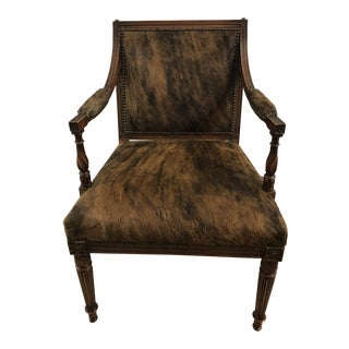1990s Vintage Cowhide French Style Arm Chair For Sale