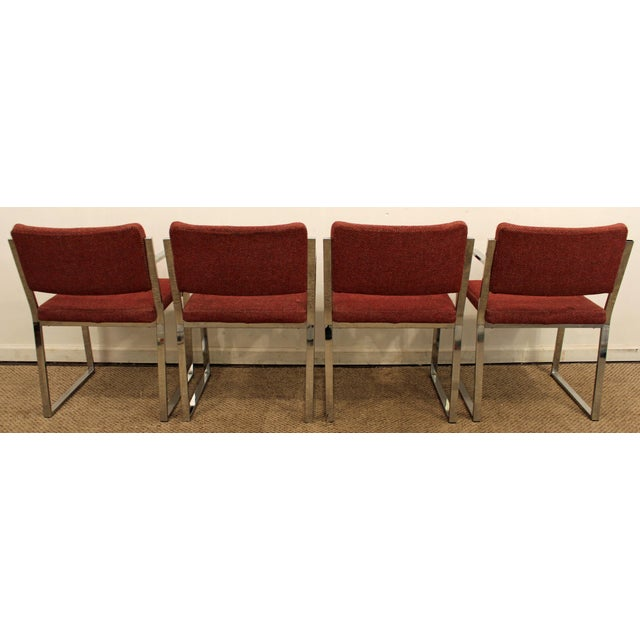 Danish Modern Mid-Century Modern Milo Baughman Style Chrome Dining Chairs - Set of 4 For Sale - Image 3 of 10