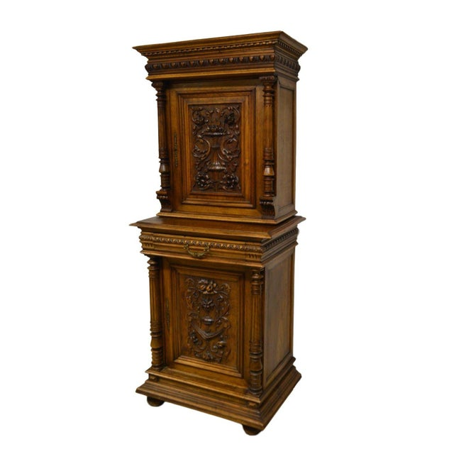 Antique 1800's Carved Walnut Pantry Cabinet For Sale - Image 11 of 11