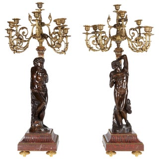 Ferdinand Barbedienne, a Large Pair of French Gilt Patinated Bronze Candelabras For Sale