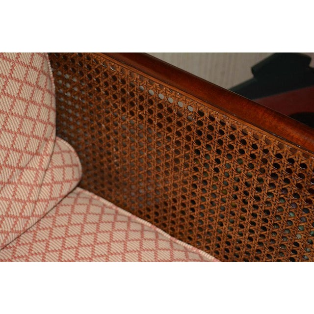 Orange 1970s Vintage Hickory Chair Company Cane & Mahogany Armchairs- a Pair For Sale - Image 8 of 13