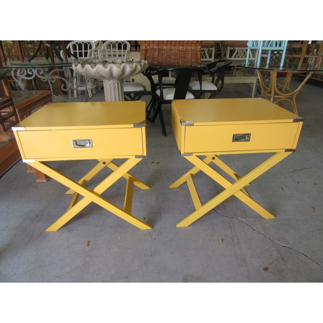 Campaign Yellow Side Tables - a Pair For Sale In West Palm - Image 6 of 7
