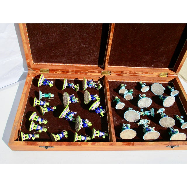 Indian Silver Enamel Mahogany Chess Set For Sale - Image 9 of 11