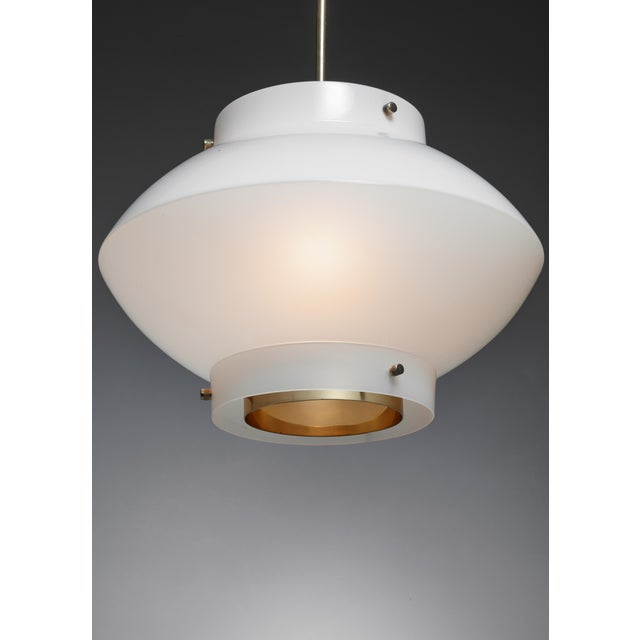 Stockmann Orno Yki Nummi One of Three White Plexiglass and Brass Pendants for Orno, Finland For Sale - Image 4 of 5