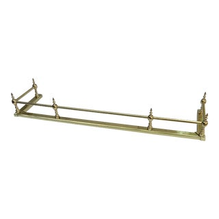 Vintage Brass Fireplace Fender with Finials For Sale