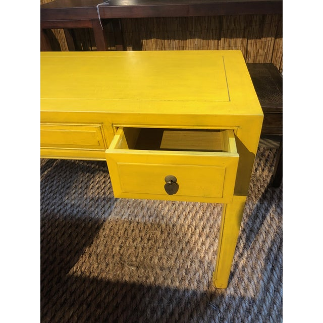 Ming Style Yellow Writing Desk For Sale In West Palm - Image 6 of 7