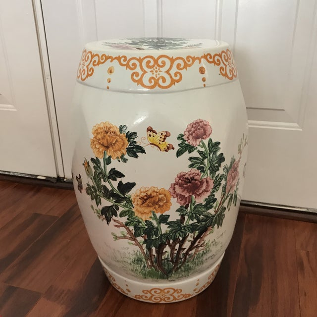 "Lovely flowers and butterflies adorn this vintage garden seat/ side table excellent preowned condition Measures 19"" tall x..."