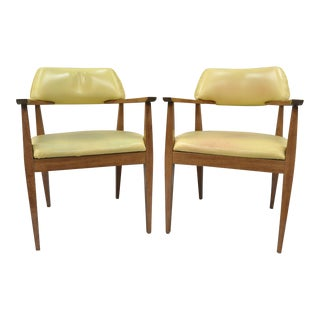 Vintage Mid-Century Modern Vinyl Office Arm Chairs