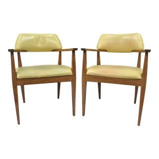 Vintage Mid-Century Modern Vinyl Office Arm Chairs