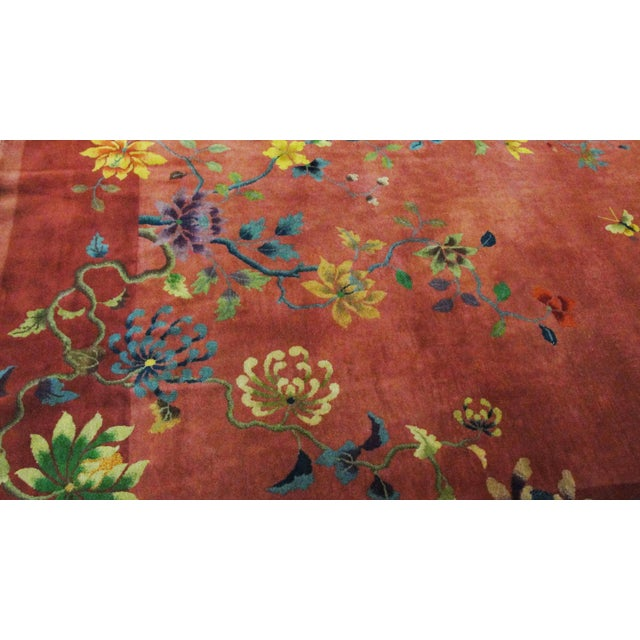 """Textile Antique Art Deco Chinese Oriental Rug-8'8""""' X 11'3"""" For Sale - Image 7 of 10"""