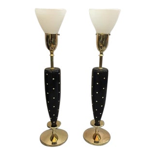 Pair of Mid-Century Rhinestone Studded Lamps by Rembrandt For Sale