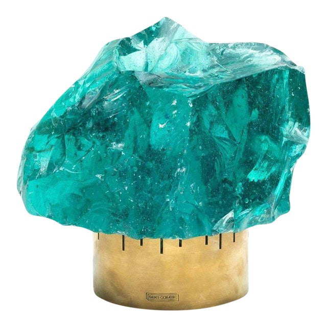 Chiseled Green Crystal Table Lamp in the Manner of Max Ingrand for Saint Gobain For Sale