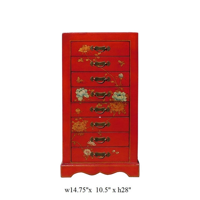 Miniature Red Vinyl Flower & Butterflies Chest of Drawers - Image 6 of 6