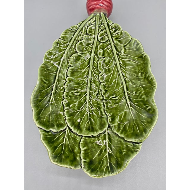 Green 20th Century Majolica Radish Vegetable Platter/Dish For Sale - Image 8 of 10