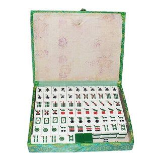 Mid 20th Century Mahjong Game Set in Green Satin Brocade Carrying Case and Green Back Tiles For Sale