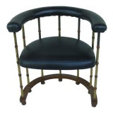 Image of 1970s Vintage Mastercraft Style Brass & Faux Bamboo Barrel Back Chair For Sale