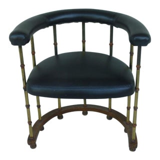 1970s Vintage Mastercraft Style Brass & Faux Bamboo Barrel Back Chair For Sale