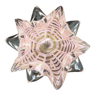 Large 1950s Murano Pink and Gold Glass Starfish Bowl by Barovier & Toso - Italian Venetian Mid Century Modern For Sale