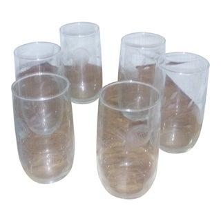 Crystal Etched Rose Glasses - Set of 6 For Sale