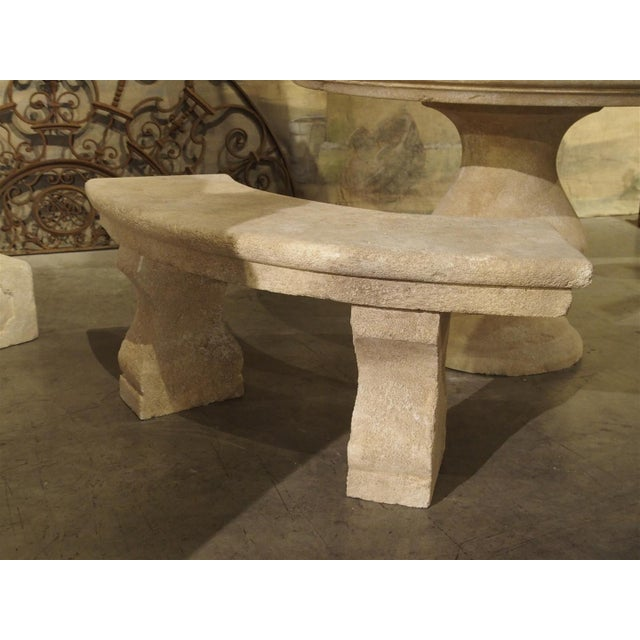 Small Carved Limestone Garden Bench from Provence, France For Sale In Dallas - Image 6 of 9