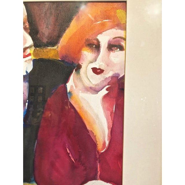 Art Deco Cabaret Scene Framed Watercolor Paintings by Sandra Jones Campbell - Set of 2 For Sale - Image 3 of 8