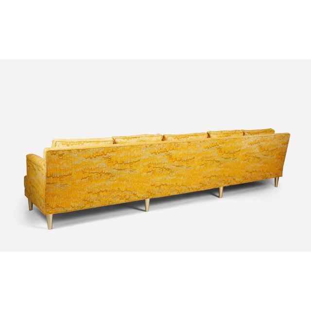 1960s Jack Lenor Larsen 5 Seat Sofa on Brass Legs For Sale - Image 5 of 7